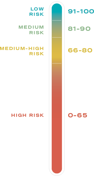 PGI Score thermometer; Low Risk is 91-100, medium risk is 81-90, medium-high risk is 66-80, and high risk is 0-56.